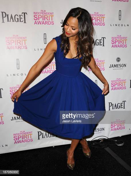 Actress Zoe Saldana attends the 2013 Film Independent Spirit Awards nominations at W Hollywood on November 27 2012 in Hollywood California