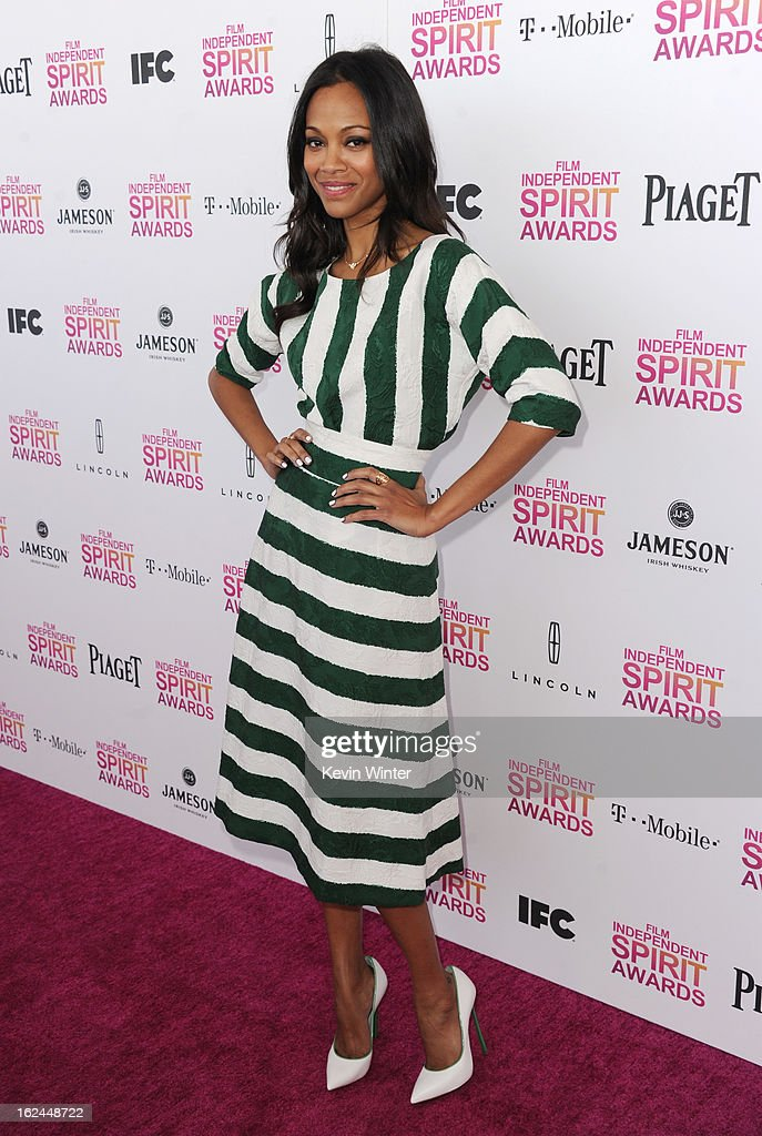 Actress <a gi-track='captionPersonalityLinkClicked' href=/galleries/search?phrase=Zoe+Saldana&family=editorial&specificpeople=542691 ng-click='$event.stopPropagation()'>Zoe Saldana</a> attends the 2013 Film Independent Spirit Awards at Santa Monica Beach on February 23, 2013 in Santa Monica, California.