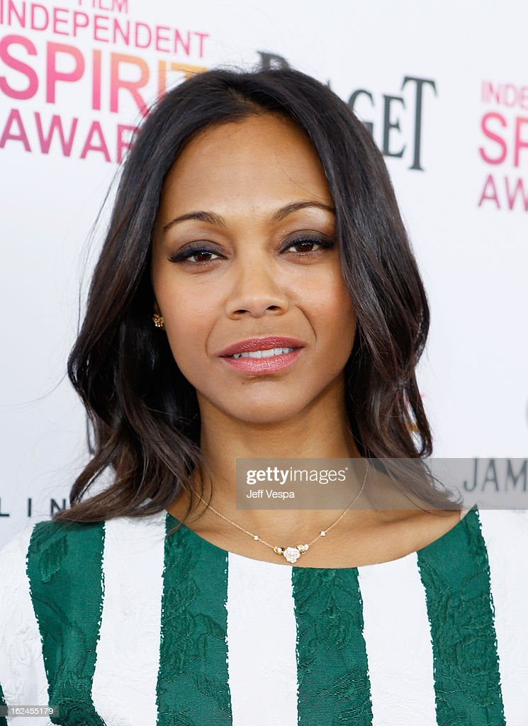 Actress Zoe Saldana attends the 2013 Film Independent Spirit Awards at Santa Monica Beach on February 23, 2013 in Santa Monica, California.