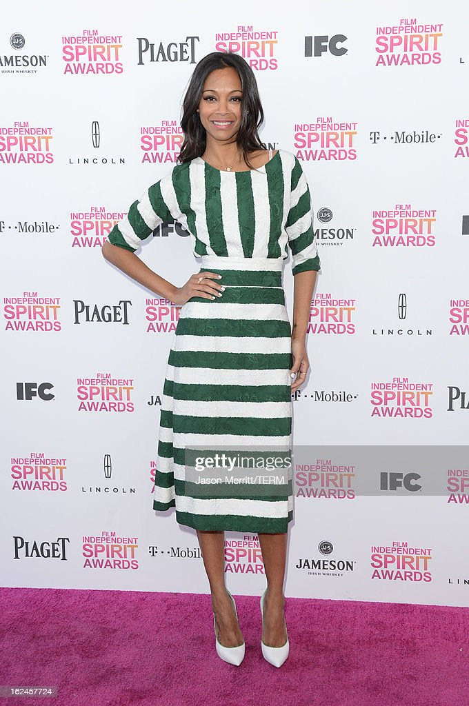 Actress Zoe Saldana attends the 2013 Film Independent Spirit Awards at Santa Monica Beach on February 23, 2013 in Santa Monica, California.