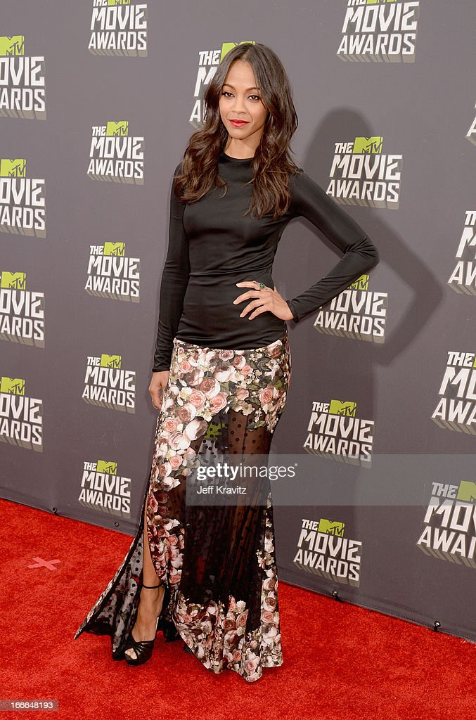 Actress Zoe Saldana attends the 2013 MTV Movie Awards at Sony Pictures Studios on April 14, 2013 in Culver City, California.