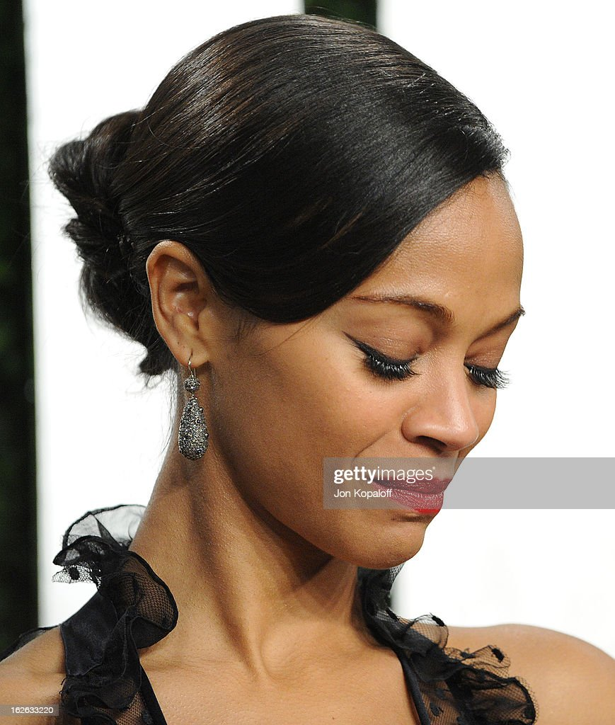Actress Zoe Saldana attends the 2013 Vanity Fair Oscar party at Sunset Tower on February 24, 2013 in West Hollywood, California.