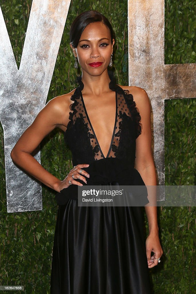 Actress Zoe Saldana attends the 2013 Vanity Fair Oscar Party at the Sunset Tower Hotel on February 24, 2013 in West Hollywood, California.