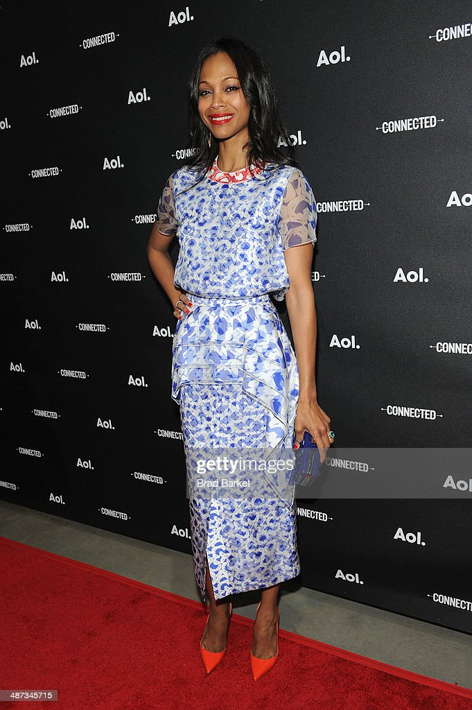 Actress <a gi-track='captionPersonalityLinkClicked' href=/galleries/search?phrase=Zoe+Saldana&family=editorial&specificpeople=542691 ng-click='$event.stopPropagation()'>Zoe Saldana</a> attends the 2014 AOL NewFronts at Duggal Greenhouse on April 29, 2014 in New York, New York.