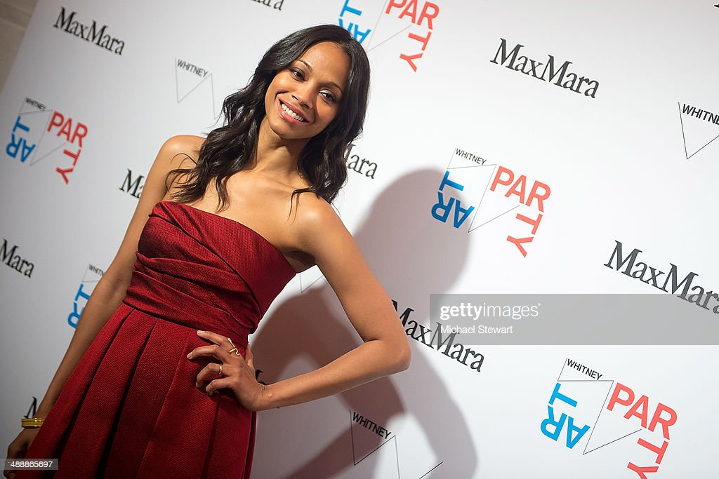 Actress <a gi-track='captionPersonalityLinkClicked' href=/galleries/search?phrase=Zoe+Saldana&family=editorial&specificpeople=542691 ng-click='$event.stopPropagation()'>Zoe Saldana</a> attends the 2014 Whitney Art Party at Highline Stages on May 8, 2014 in New York City.