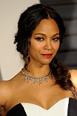 Actress Zoe Saldana attends the 2015 Vanity Fair Oscar Party hosted by Graydon Carter at Wallis Annenberg Center for the Performing Arts on February...