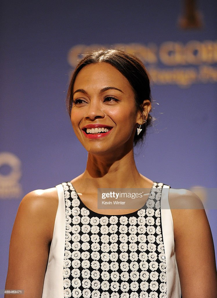 Actress Zoe Saldana attends the 71st Golden Globe Awards Nominations Announcement at The Beverly Hilton Hotel on December 12, 2013 in Beverly Hills, California.