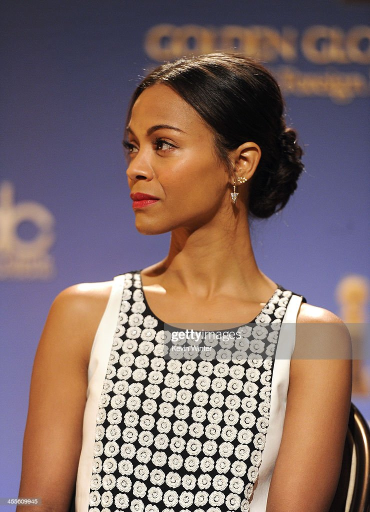 Actress <a gi-track='captionPersonalityLinkClicked' href=/galleries/search?phrase=Zoe+Saldana&family=editorial&specificpeople=542691 ng-click='$event.stopPropagation()'>Zoe Saldana</a> attends the 71st Golden Globe Awards Nominations Announcement at The Beverly Hilton Hotel on December 12, 2013 in Beverly Hills, California.