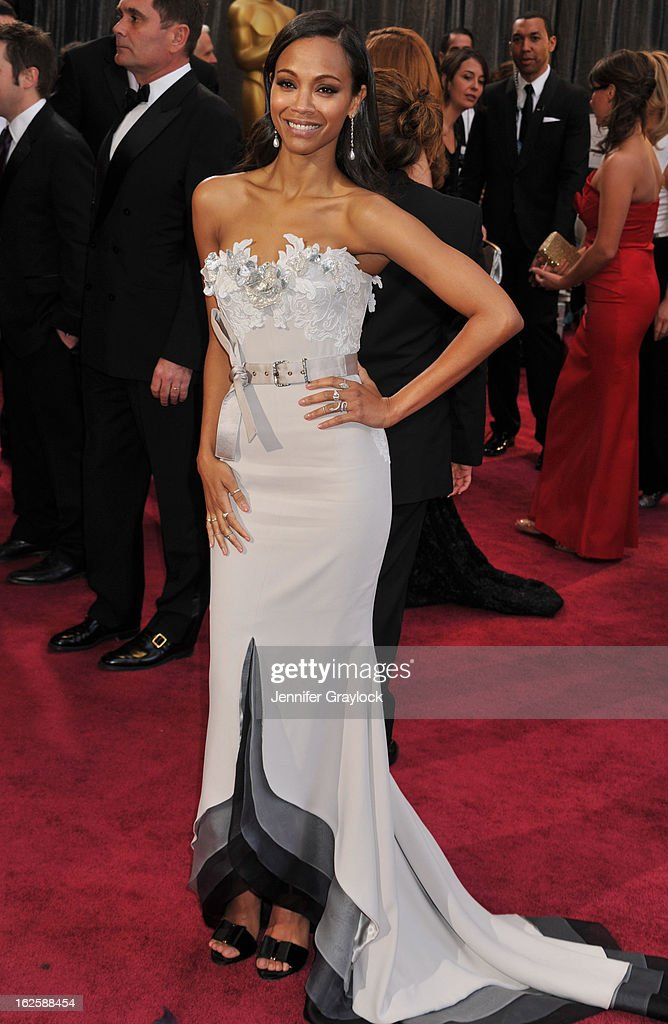 Actress Zoe Saldana attends the 85th Annual Academy Awards at Hollywood & Highland Center on February 24, 2013 in Hollywood, California.