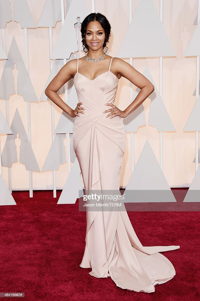 Actress Zoe Saldana attends the 87th Annual Academy Awards at Hollywood & Highland Center on February 22, 2015 in Hollywood, California.
