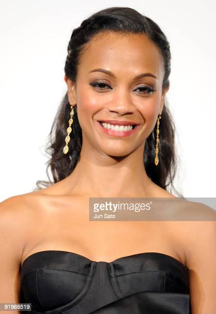 Actress Zoe Saldana attends the Avatar' Stage Greeting at Toho Cinema Roppongi Hills on October 17 2009 in Tokyo Japan The film will open on December...