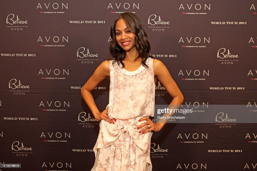 Actress <a gi-track='captionPersonalityLinkClicked' href=/galleries/search?phrase=Zoe+Saldana&family=editorial&specificpeople=542691 ng-click='$event.stopPropagation()'>Zoe Saldana</a> attends The AVON Believe World tour on April 29, 2011 in Chicago, Illinois.