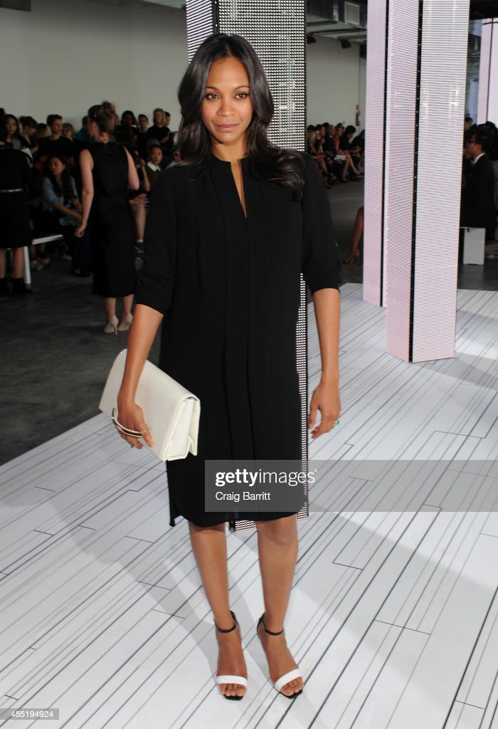 Actress Zoe Saldana attends the Boss fashion show during MercedesBenz Fashion Week Spring 2015 on September 10 2014 in New York City