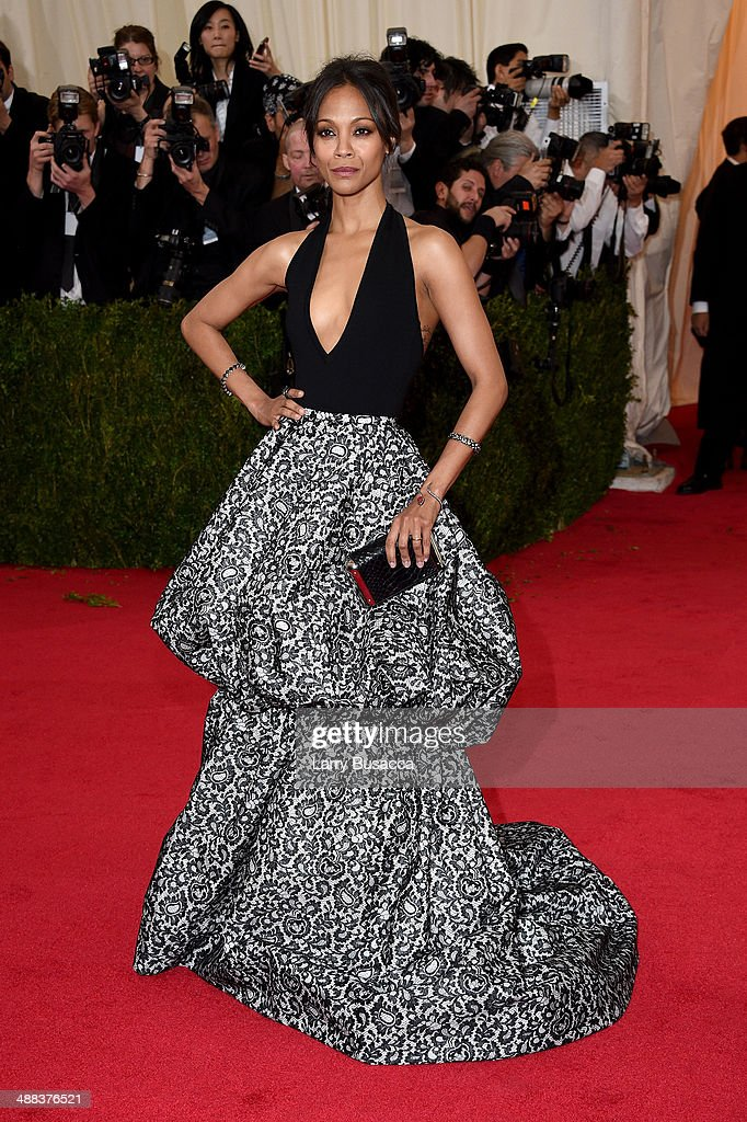 Actress Zoe Saldana attends the 'Charles James: Beyond Fashion' Costume Institute Gala at the Metropolitan Museum of Art on May 5, 2014 in New York City.