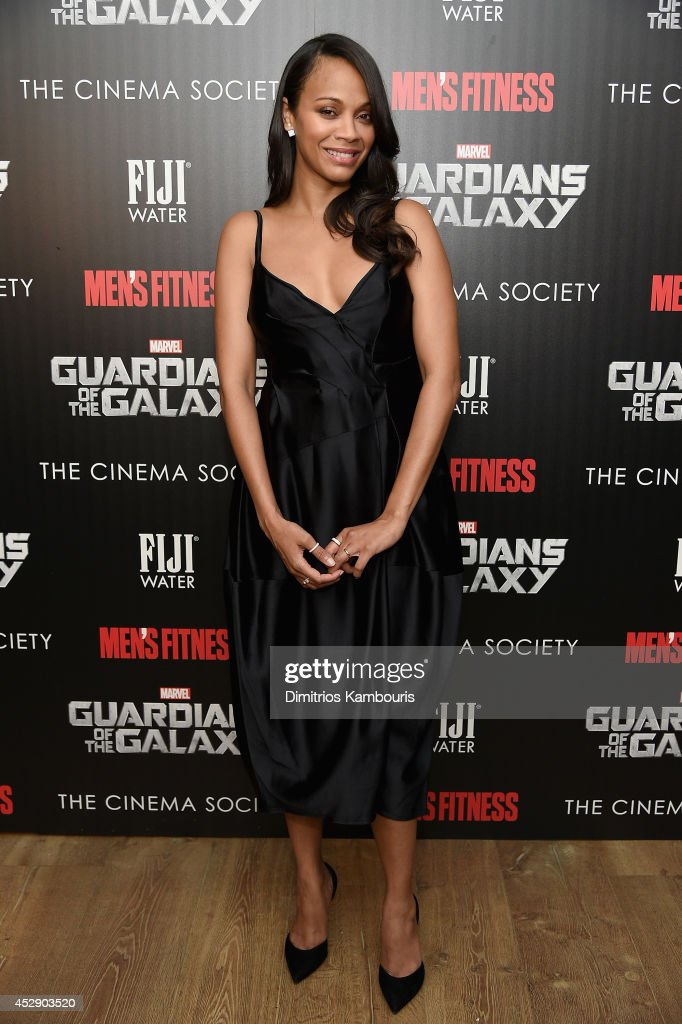 Actress <a gi-track='captionPersonalityLinkClicked' href=/galleries/search?phrase=Zoe+Saldana&family=editorial&specificpeople=542691 ng-click='$event.stopPropagation()'>Zoe Saldana</a> attends The Cinema Society with Men's Fitness and FIJI Water special screening of Marvel's 'Guardians of the Galaxy' at Crosby Street Hotel on July 29, 2014 in New York City.
