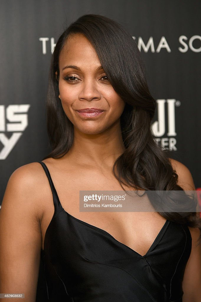 Actress Zoe Saldana attends The Cinema Society with Men's Fitness and FIJI Water special screening of Marvel's 'Guardians of the Galaxy' at Crosby Street Hotel on July 29, 2014 in New York City.
