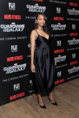 Actress Zoe Saldana attends The Cinema Society with Men's Fitness FIJI Water host a screening of 'Guardians of the Galaxy' on July 29 2014 in New...