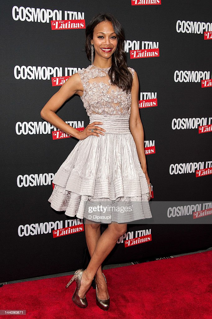 Actress <a gi-track='captionPersonalityLinkClicked' href=/galleries/search?phrase=Zoe+Saldana&family=editorial&specificpeople=542691 ng-click='$event.stopPropagation()'>Zoe Saldana</a> attends the Cosmopolitan For Latina's Premiere Issue Party at Press Lounge at Ink48 on May 9, 2012 in New York City.