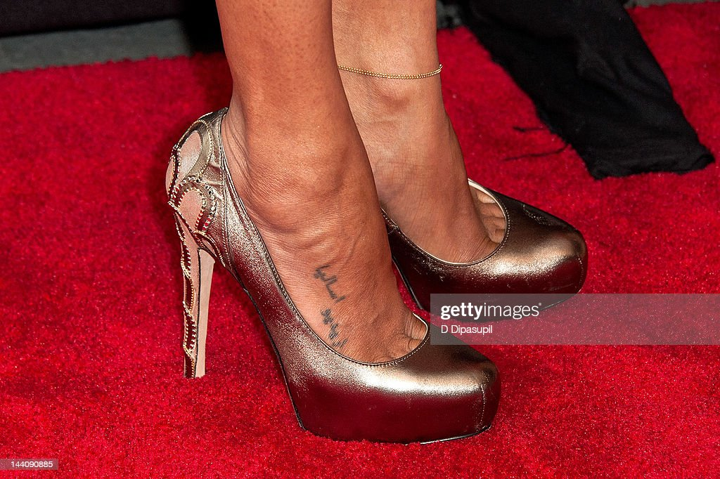 Actress Zoe Saldana (shoe/tattoo detail) attends the Cosmopolitan For Latina's Premiere Issue Party at Press Lounge at Ink48 on May 9, 2012 in New York City.