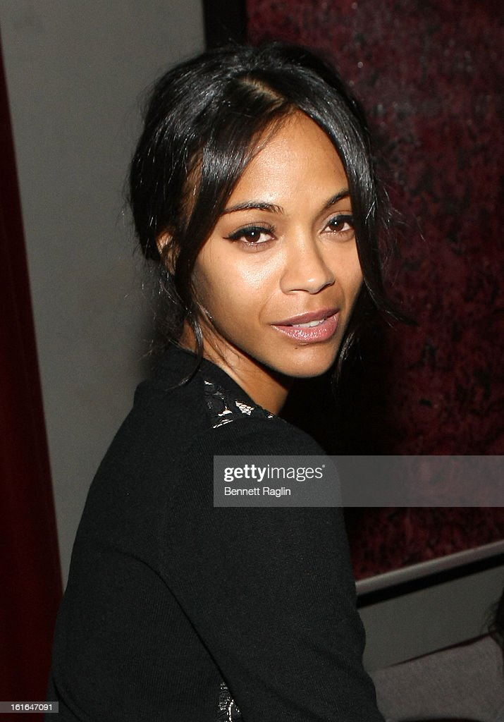 Actress <a gi-track='captionPersonalityLinkClicked' href=/galleries/search?phrase=Zoe+Saldana&family=editorial&specificpeople=542691 ng-click='$event.stopPropagation()'>Zoe Saldana</a> attends the Gents launch event at Gramercy Terrace at The Gramercy Park Hotel on February 13, 2013 in New York City.