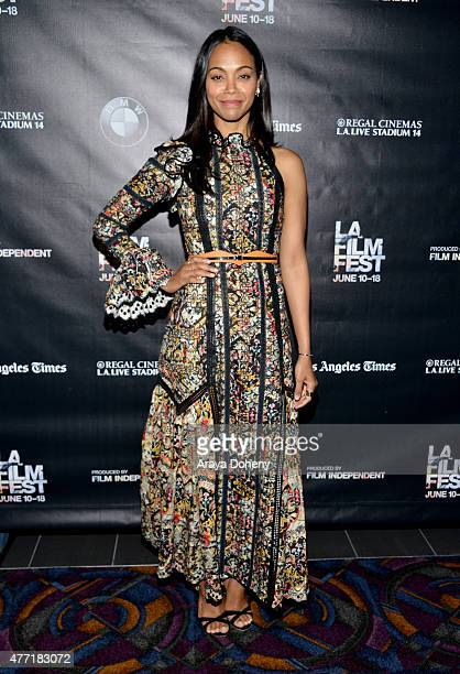 Actress Zoe Saldana attends the 'Infinitely Polar Bear' premiere during the 2015 Los Angeles Film Festival at Regal Cinemas LA Live on June 14 2015...