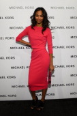 Actress Zoe Saldana attends the Michael Kors Fall 2013 fashion show during MercedesBenz Fashion Week at The Theatre at Lincoln Center on February 13...