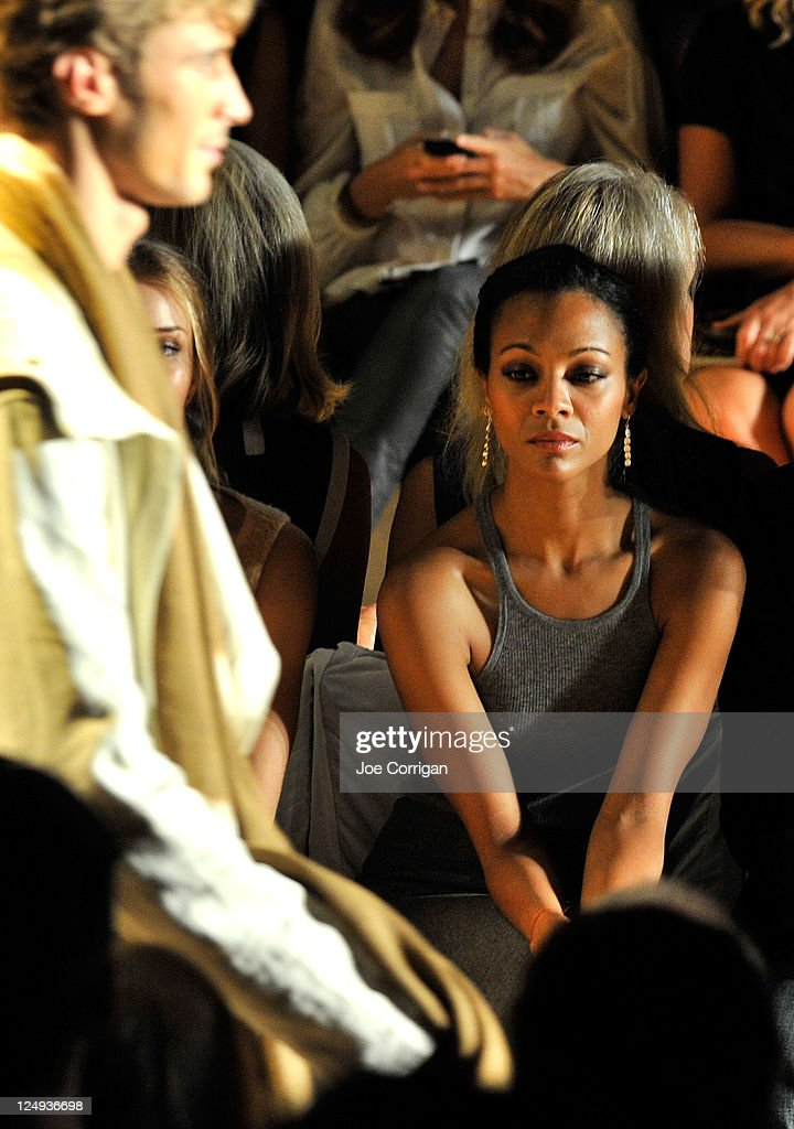 Actress <a gi-track='captionPersonalityLinkClicked' href=/galleries/search?phrase=Zoe+Saldana&family=editorial&specificpeople=542691 ng-click='$event.stopPropagation()'>Zoe Saldana</a> attends the Michael Kors Spring 2012 fashion show during Mercedes-Benz Fashion Week at The Theater at Lincoln Center on September 14, 2011 in New York City.