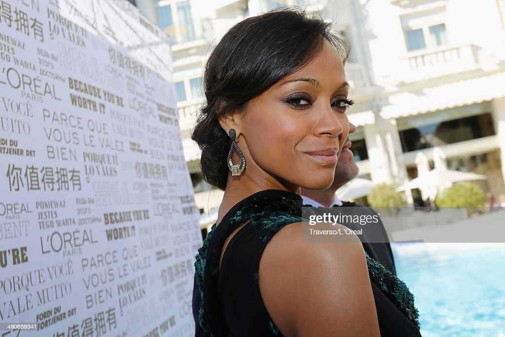 Actress <a gi-track='captionPersonalityLinkClicked' href=/galleries/search?phrase=Zoe+Saldana&family=editorial&specificpeople=542691 ng-click='$event.stopPropagation()'>Zoe Saldana</a> attends the 'Mr Turner' premiere during the 67th Annual Cannes Film Festival on May 15, 2014 in Cannes, France.