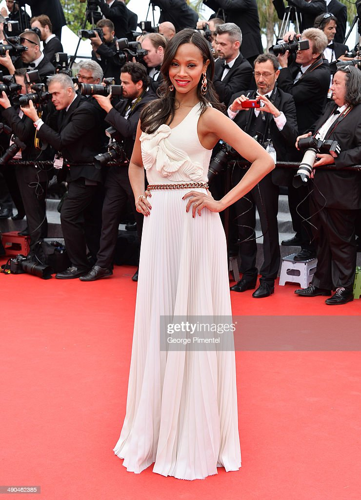 Actress <a gi-track='captionPersonalityLinkClicked' href=/galleries/search?phrase=Zoe+Saldana&family=editorial&specificpeople=542691 ng-click='$event.stopPropagation()'>Zoe Saldana</a> attends the opening ceremony and 'Grace of Monaco' premiere at the 67th Annual Cannes Film Festival on May 14, 2014 in Cannes, France.