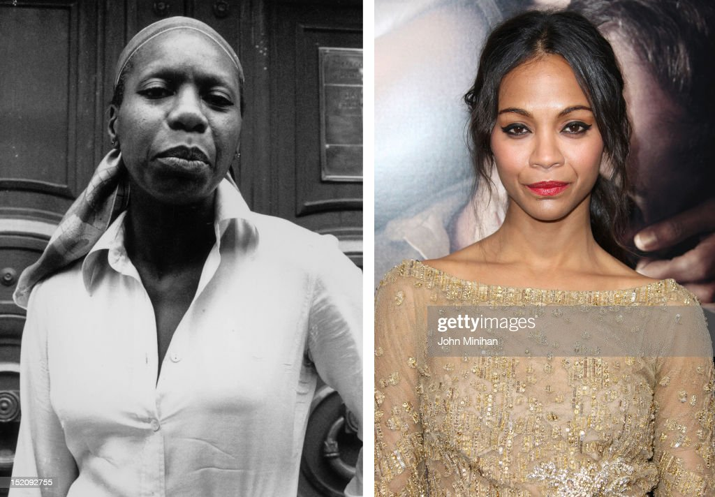 In this composite image a comparison has been made between Nina Simone (L) and actress Zoe Saldana. Zoe Saldana will reportedly play Nina Simone in a film biopic by writer and director Cynthia Mort and executive producer Jimmy Lovine. HOLLYWOOD, CA - SEPTEMBER 04: Actress Zoe Saldana attends the Premiere Of CBS Films' 'The Words' at the ArcLight Cinemas on September 4, 2012 in Hollywood, California.