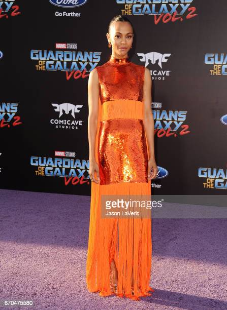 Actress Zoe Saldana attends the premiere of 'Guardians of the Galaxy Vol 2' at Dolby Theatre on April 19 2017 in Hollywood California