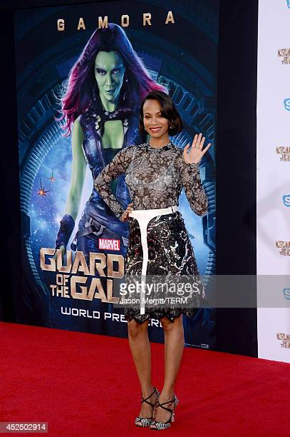 Actress Zoe Saldana attends the premiere of Marvel's 'Guardians Of The Galaxy' at the Dolby Theatre on July 21 2014 in Hollywood California