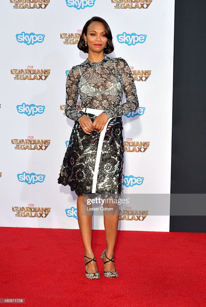 Actress <a gi-track='captionPersonalityLinkClicked' href=/galleries/search?phrase=Zoe+Saldana&family=editorial&specificpeople=542691 ng-click='$event.stopPropagation()'>Zoe Saldana</a> attends the premiere of Marvel's 'Guardians Of The Galaxy' at the El Capitan Theatre on July 21, 2014 in Hollywood, California.
