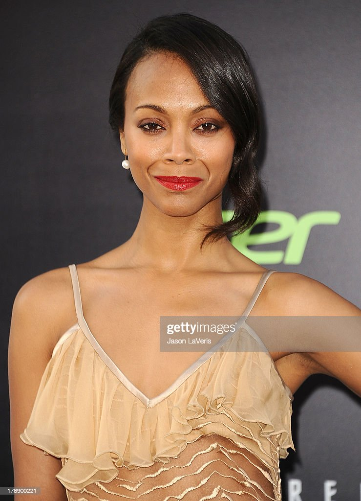 Actress <a gi-track='captionPersonalityLinkClicked' href=/galleries/search?phrase=Zoe+Saldana&family=editorial&specificpeople=542691 ng-click='$event.stopPropagation()'>Zoe Saldana</a> attends the premiere of 'Star Trek Into Darkness' at Dolby Theatre on May 14, 2013 in Hollywood, California.
