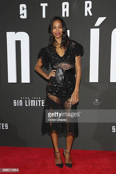 Actress Zoe Saldana attends the premiere of the Paramount Pictures title 'Star Trek Beyond' at Cinemex Antara Polanco on August 30 2016 in Mexico...
