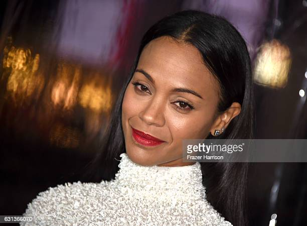 Actress Zoe Saldana attends the premiere of Warner Bros Pictures' 'Live By Night' at TCL Chinese Theatre on January 9 2017 in Hollywood California