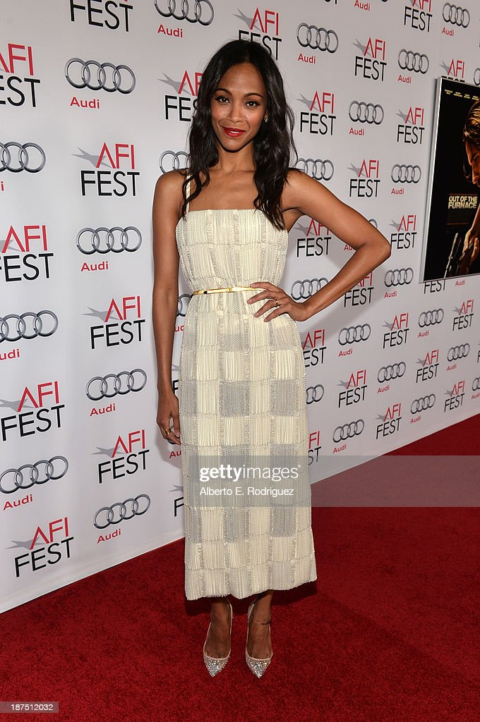 Actress <a gi-track='captionPersonalityLinkClicked' href=/galleries/search?phrase=Zoe+Saldana&family=editorial&specificpeople=542691 ng-click='$event.stopPropagation()'>Zoe Saldana</a> attends the screening of 'Out of the Furnace' during AFI FEST 2013 presented by Audi at TCL Chinese Theatre on November 9, 2013 in Hollywood, California.