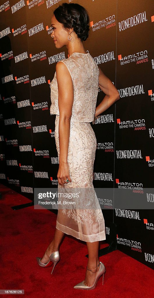 Actress Zoe Saldana attends the Seventh Annual Hamilton Behind the Camera Awards at The Wilshire Ebell Theatre on November 10, 2013 in Los Angeles, California.