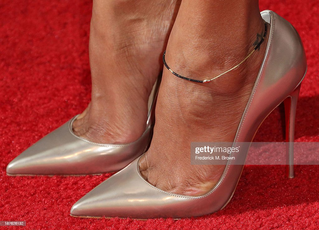 Actress Zoe Saldana (shoe detail) attends the Seventh Annual Hamilton Behind the Camera Awards at The Wilshire Ebell Theatre on November 10, 2013 in Los Angeles, California.