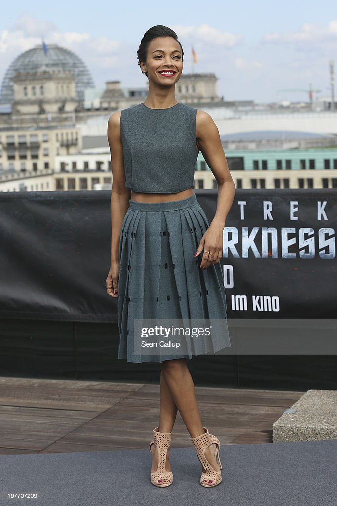 Actress <a gi-track='captionPersonalityLinkClicked' href=/galleries/search?phrase=Zoe+Saldana&family=editorial&specificpeople=542691 ng-click='$event.stopPropagation()'>Zoe Saldana</a> attends the 'Star Trek Into Darkness' Photocall at China Club on April 28, 2013 in Berlin, Germany.