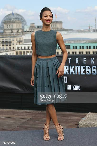 Actress Zoe Saldana attends the 'Star Trek Into Darkness' Photocall at China Club on April 28 2013 in Berlin Germany
