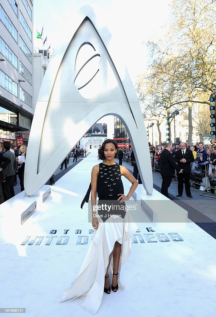 Actress <a gi-track='captionPersonalityLinkClicked' href=/galleries/search?phrase=Zoe+Saldana&family=editorial&specificpeople=542691 ng-click='$event.stopPropagation()'>Zoe Saldana</a> attends the 'Star Trek Into Darkness' UK Premiere at the Empire Leicester Square on May 2, 2013 in London, England.