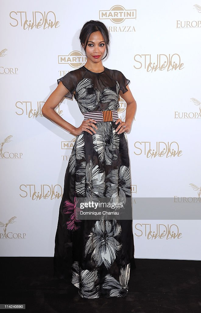Actress Zoe Saldana attends 'The Tree Of Life' Party during the 64th Annual Cannes Film Festival at Martini Terrace Gray D'Albion Beach on May 16...