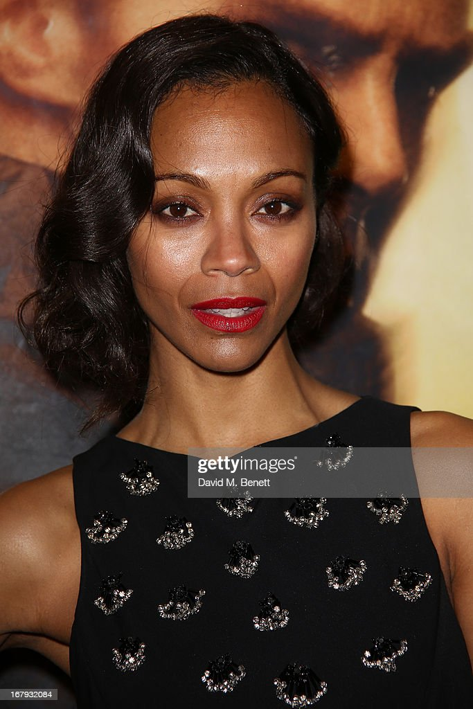 Actress <a gi-track='captionPersonalityLinkClicked' href=/galleries/search?phrase=Zoe+Saldana&family=editorial&specificpeople=542691 ng-click='$event.stopPropagation()'>Zoe Saldana</a> attends the UK Premiere of 'Star Trek Into Darkness' at The Empire Cinema on May 2, 2013 in London, England.