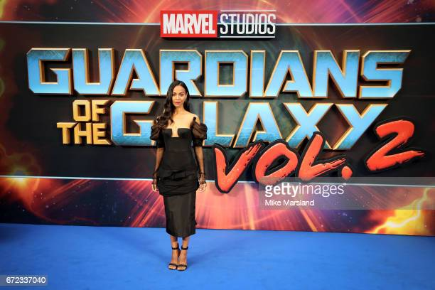 Actress Zoe Saldana attends the UK screening of 'Guardians of the Galaxy Vol 2' at Eventim Apollo on April 24 2017 in London United Kingdom