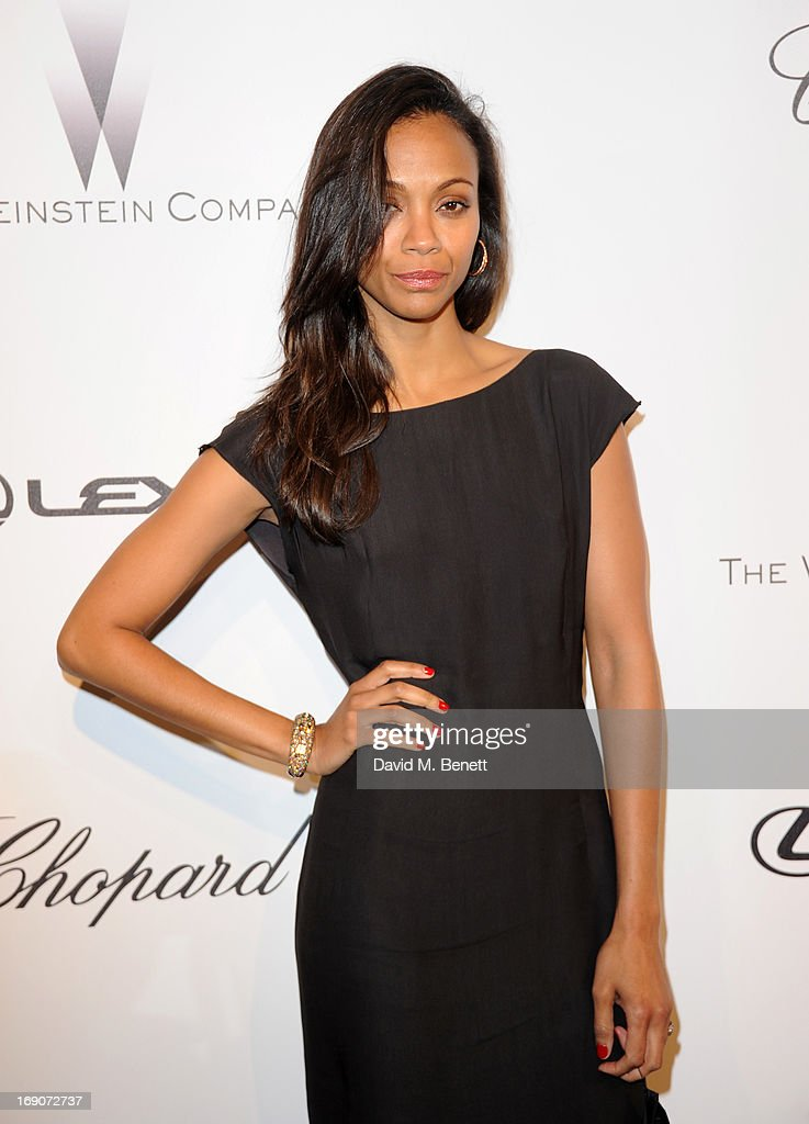 Actress <a gi-track='captionPersonalityLinkClicked' href=/galleries/search?phrase=Zoe+Saldana&family=editorial&specificpeople=542691 ng-click='$event.stopPropagation()'>Zoe Saldana</a> attends The Weinstein Company Party in Cannes hosted by Lexus and Chopard at Baoli Beach on May 19, 2013 in Cannes, France.