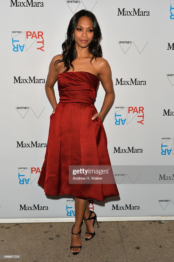 Actress <a gi-track='captionPersonalityLinkClicked' href=/galleries/search?phrase=Zoe+Saldana&family=editorial&specificpeople=542691 ng-click='$event.stopPropagation()'>Zoe Saldana</a> attends the Whitney Art Party sponsored by Max Mara at Highline Stages on May 8, 2014 in New York City.