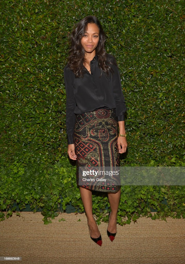 Actress <a gi-track='captionPersonalityLinkClicked' href=/galleries/search?phrase=Zoe+Saldana&family=editorial&specificpeople=542691 ng-click='$event.stopPropagation()'>Zoe Saldana</a> attends Vogue and MAC Cosmetics dinner hosted by Lisa Love and John Demsey in honor of Prabal Gurung at the Chateau Marmont on Monday, May 13, 2013 in Los Angeles, California.