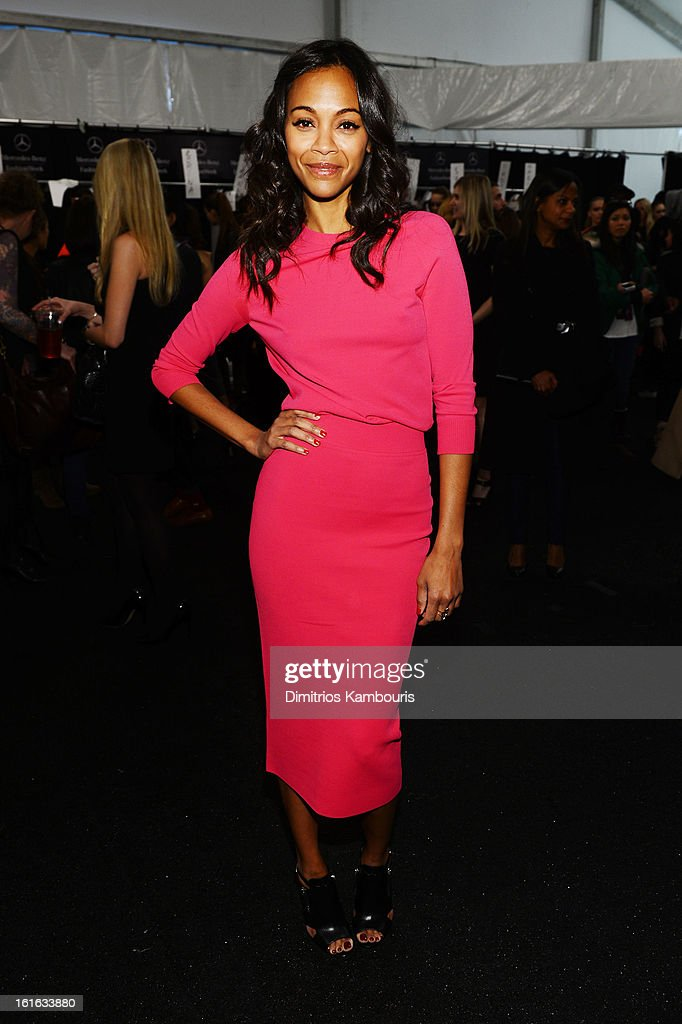 Actress <a gi-track='captionPersonalityLinkClicked' href=/galleries/search?phrase=Zoe+Saldana&family=editorial&specificpeople=542691 ng-click='$event.stopPropagation()'>Zoe Saldana</a> backstage at the Michael Kors Fall 2013 fashion show during Mercedes-Benz Fashion Week at The Theatre at Lincoln Center on February 13, 2013 in New York City.