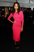 Actress Zoe Saldana backstage at the Michael Kors Fall 2013 fashion show during MercedesBenz Fashion Week at The Theatre at Lincoln Center on...